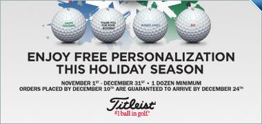 Free Personalization on Titleist Golf Balls 11/1 - 12/31